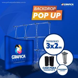 BACKDROP POP UP - PERSONALIZADO Base Alumínio e Lâminas Poliestireno 300X200cm 4x0  Material Resistente O kit vai com case para transporte