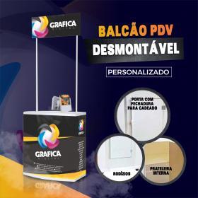 BALCÃO PDV DESMONSTÁVEL - PERSONALIZADO PVC  4x0 Brilho Material Resistente O kit vai com o balcão, testeira, prateleira interna, porta, rodízio e case de transporte