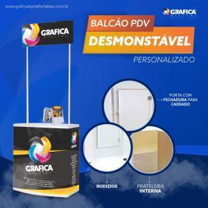 BALCÃO PDV DESMONTÁVEL - PERSONALIZADO PVC  4x0 Brilho Material Resistente O kit vai com o balcão, testeira, prateleira interna, porta, rodízio e case de transporte
