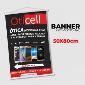Banner 50x80cm Lona  4x0  Corda + Cabo