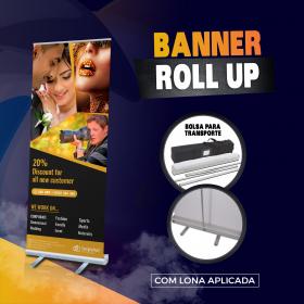 BANNER ROLL-UP Base de Rolagem Alumínio 80x200cm 4x0 Brilho Material Resistente