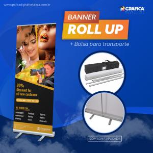 BANNER ROLL-UP Base de Rolagem Alumínio 80x200cm 4x0 Brilho ou Fosco Material Resistente