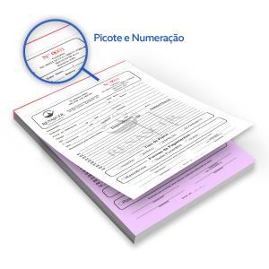 Bloco - Tam. 15x21cm - Númerado - 1x0 - Autocopiativo Papel Autocopiativo 15x21 1x0  Colado e Picotado Númerado