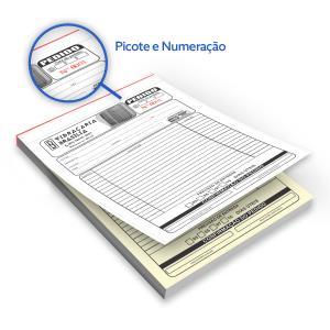 Bloco - Tam. 21x29,7cm - Númerado - 1x0 - Autocopiativo Papel Autocopiativo 21x29,7 1x0  Colado e Picotado