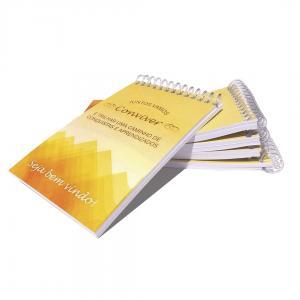 Caderneta Capa Couchê 250g / Miolo Ap 75g 10x7 4x0 Capa  Encadernação Espiral (Plástico) 50 Folhas: sem impressão, sem pauta) – papel ap 75g