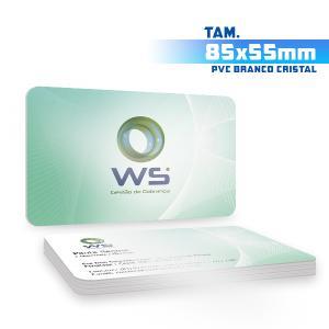 Cartões de Visita - 1000unid. - 8,5x5,5cm - Frente e Verso PVC 0,5mm 9x5 4x4 / Frente e Verso  Corte 4 Cantos Arredondados Branco Cristal