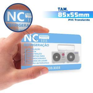Cartões de Visita - 1000unid. - 8,5x5,5cm - Só Frente PVC 0,3mm 8,5x5,5cm 5x0 / Só Frente  Corte 4 Cantos Arredondados Transparente / Translúcido / Cor Especial Branca