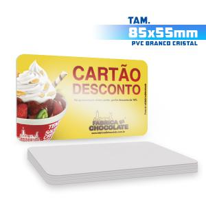 Cartões de Visita - 1000unid. - 8,5x5,5cm - Só Frente PVC 0,5mm 9x5 4x0 / Só Frente  Corte 4 Cantos Arredondados Branco Cristal