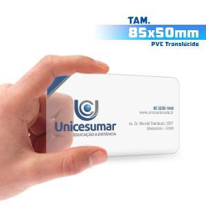 Cartões de Visita - 1000unid. - 8,5x5cm - Só Frente PVC 0,3mm 8,5x5cm 4x0 / Só Frente  Corte 4 Cantos Arredondados Transparente / Translúcido