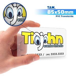Cartões de Visita - 1000unid. - 8,5x5cm - Só Frente PVC 0,3mm 8,5x5cm 5x0 / Só Frente  Corte 4 Cantos Arredondados Transparente / Translúcido / Cor Especial Branca