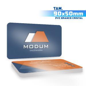 Cartões de Visita - 1000unid. - 9x5cm - Frente e Verso PVC 0,5mm 9x5 4x4 / Frente e Verso  Corte 4 Cantos Arredondados Branco Cristal