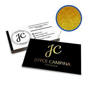 Cartões de Visita - 1000unid. - 9x5cm - Frente e Verso Couchê 300g 9x5cm 4x4 / Frente e Verso Laminação Fosca Corte Reto Hot Stamping