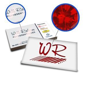 Cartões de Visita - 1000unid. - 9x5cm - Frente e Verso Couchê 300g 9x5cm 4x4 / Frente e Verso Laminação Fosca Corte Reto Hot Stamping e Verniz Localizado