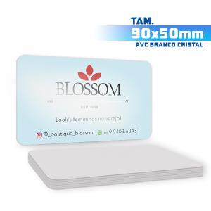 Cartões de Visita - 1000unid. - 9x5cm - Só Frente PVC 0,5mm 9x5 4x0 / Só Frente  Corte 4 Cantos Arredondados Branco Cristal