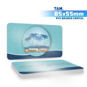 Cartões de Visita - 500unid. - 8,5x5,5cm - Frente e Verso PVC 0,5mm 8,5x5,5cm 4x4 / Frente e Verso  Corte 4 Cantos Arredondados Branco Cristal