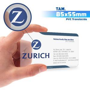 Cartões de Visita - 500unid. - 8,5x5,5cm - Só Frente PVC 0,3mm 8,5x5,5cm 5x0 / Só Frente  Corte 4 Cantos Arredondados Transparente / Translúcido / Cor Especial Branca