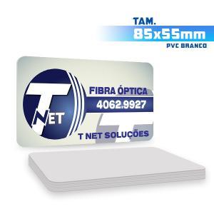 Cartões de Visita - 500unid. - 8,5x5,5cm - Só Frente PVC 0,3mm 8,5x5,5cm 4x0 / Só Frente  Corte 4 Cantos Arredondados