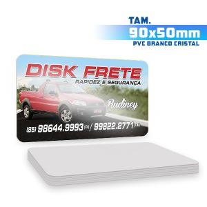 Cartões de Visita - 500unid. - 9x5cm - Só Frente PVC 0,5mm 9x5 4x0 / Só Frente  Corte 4 Cantos Arredondados Branco Cristal