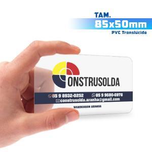 Cartões de Visita - 500unid. - 8,5x5cm - Só Frente PVC 0,3mm 8,5x5cm 4x0 / Só Frente  Corte 4 Cantos Arredondados Transparente / Translúcido