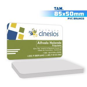 Cartões de Visita - 500unid. - 8,5x5cm - Só Frente PVC 0,3mm 8,5x5cm 4x0 / Só Frente  Corte 4 Cantos Arredondados