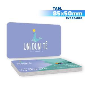 Cartões de Visita - 500unid. - 8,5x5cm - Frente e Verso PVC 0,3mm 8,5x5cm 4x4 / Frente e Verso  Corte 4 Cantos Arredondados