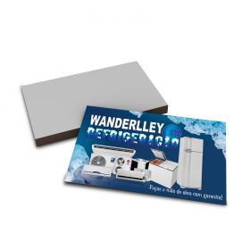 Cartões de Visita   4x0   500unid Couchê 300g 9x5cm 4x0 Verniz UV Total Frente Corte Reto