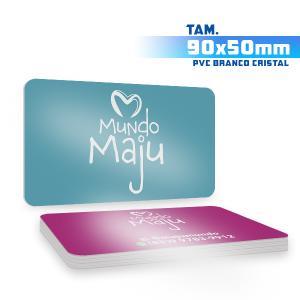 Cartões de Visita - 500unid. - 9x5cm - Frente e Verso PVC 0,5mm 9x5 4x4 / Frente e Verso  Corte 4 Cantos Arredondados Branco Cristal