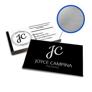 Cartões de Visita - 500unid. - 9x5cm - Frente e Verso Couchê 300g 9x5cm 4x4 / Frente e Verso Laminação Fosca Corte Reto Hot Stamping