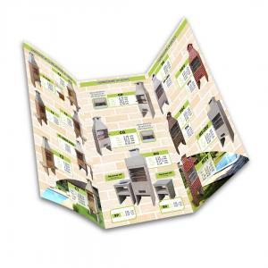 Folder Papel Couchê 115g 21x30cm 4x4 Brilho Corte Reto 2 Dobras
