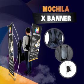 Mochila X Banner Lona 60x120cm 4x0 Brilho Material Resistente Acompanha Bolsa Para Transporte