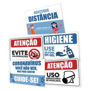 Placa para Sinalização / Recomendações contra Covid-19 PVC 2m 20x30 4x0  Corte Reto