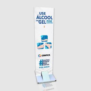 Totem Para Álcool em Gel Estrutura em Metalon 30x150cm  PVC  Personalizado