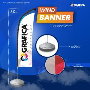 Wind Banner Microfibra 300cm 4x0 ou 4x4