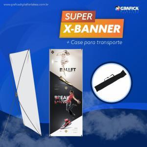 X-Banner Base de Rolagem Alumínio 80x180 ou 60x160cm 4x0 Brilho ou Fosco Material Resistente